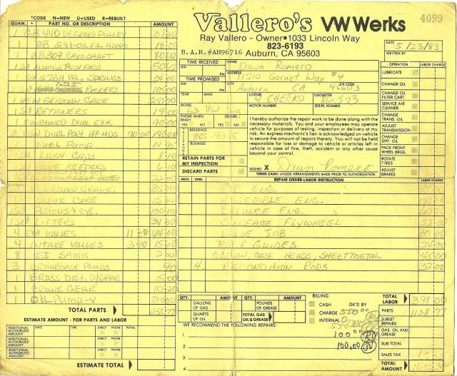 30 year old engine - built and rebuilt by Vallero's VW Werks Vallerosreceipt1983a