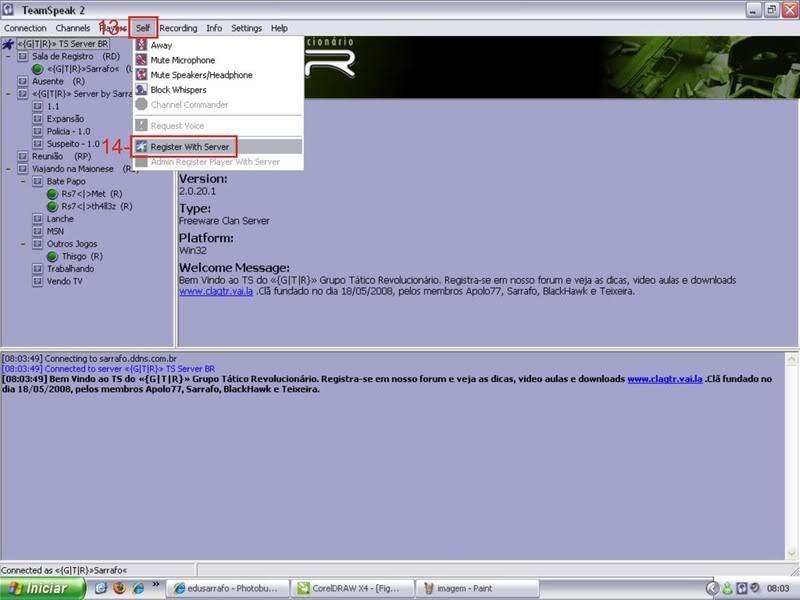 Tutorial como entrar em server no TS TeamSpeak Ts5