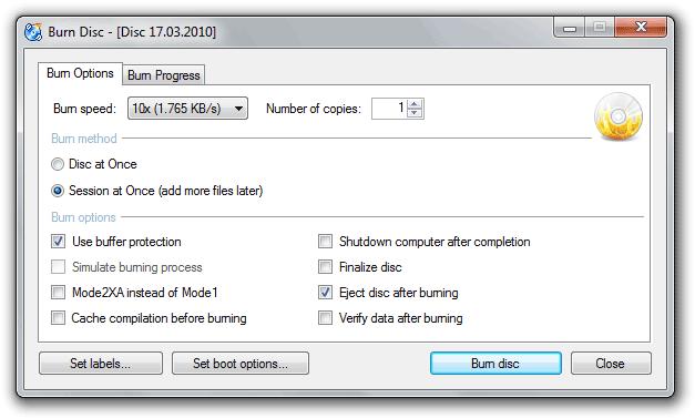Brezplačni programi za snemanje (pečenje) DVD-jev Cdxp-burnoptions