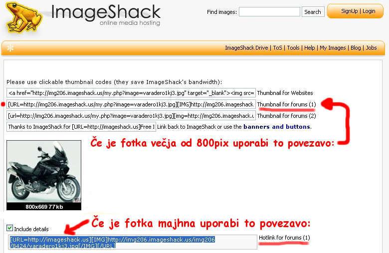 Kako vstavim fotografije Imageshacklink