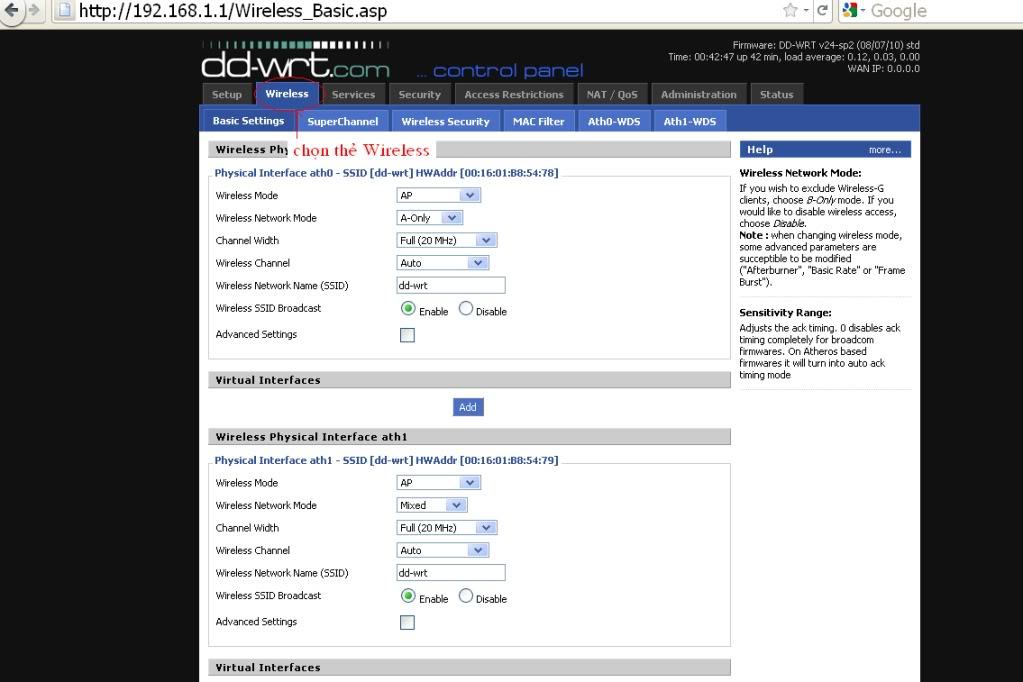 Hướng dẫn chung thiết lập cấu hình router BUFFALO up bản DD-WRT thu phát sóng Wifi AG3