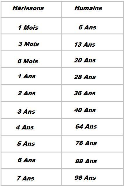 Âge de l'humain comparativement au hérisson Tablea10