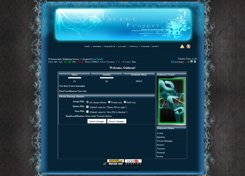 Scene-Project (private torrent tracker) Abstractblue