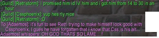 Why did u call your char ???? RetristormFAIL
