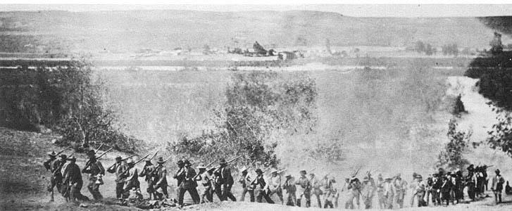 Invasión filibustera a Baja California. RebeldeshuyendodelasfuerzasFederale