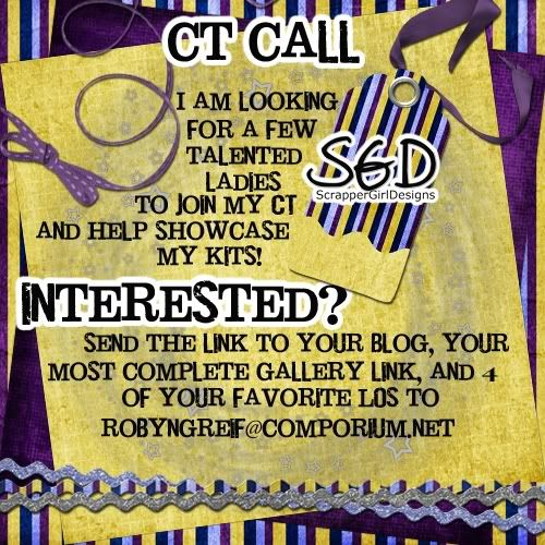 CT Call for ScrapperGirl Designs! CTCALL