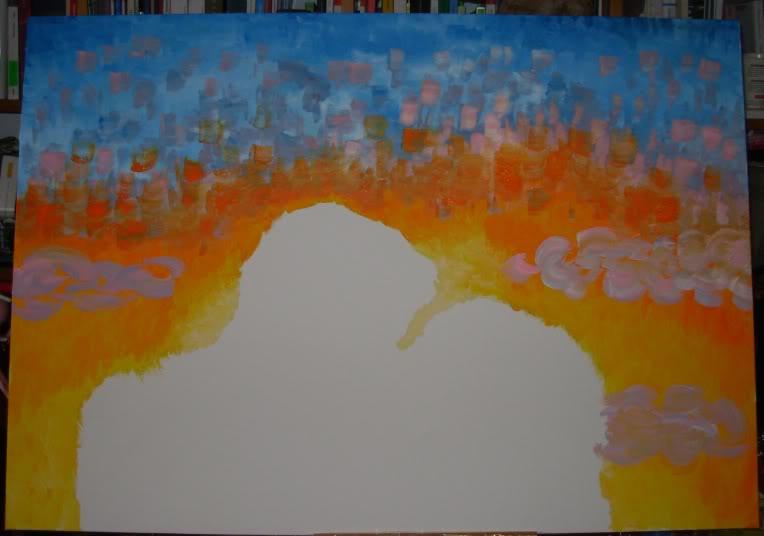 Quadro coppia e tramonto Coppia