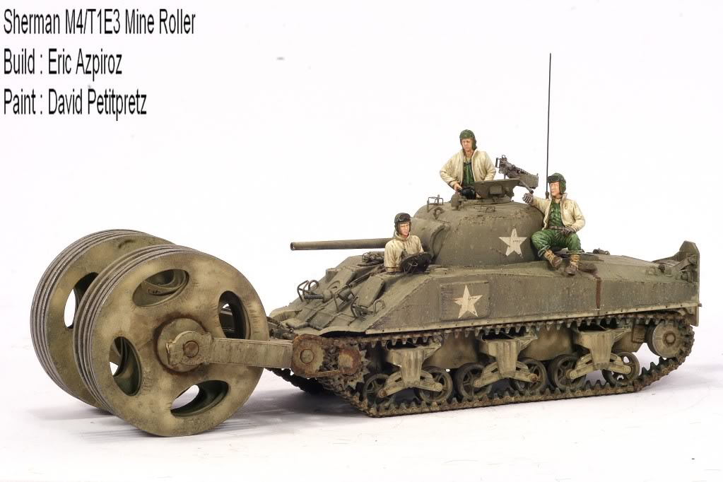 Finished : Sherman M4A1 with T1E3 Mine Roller (1/48th)