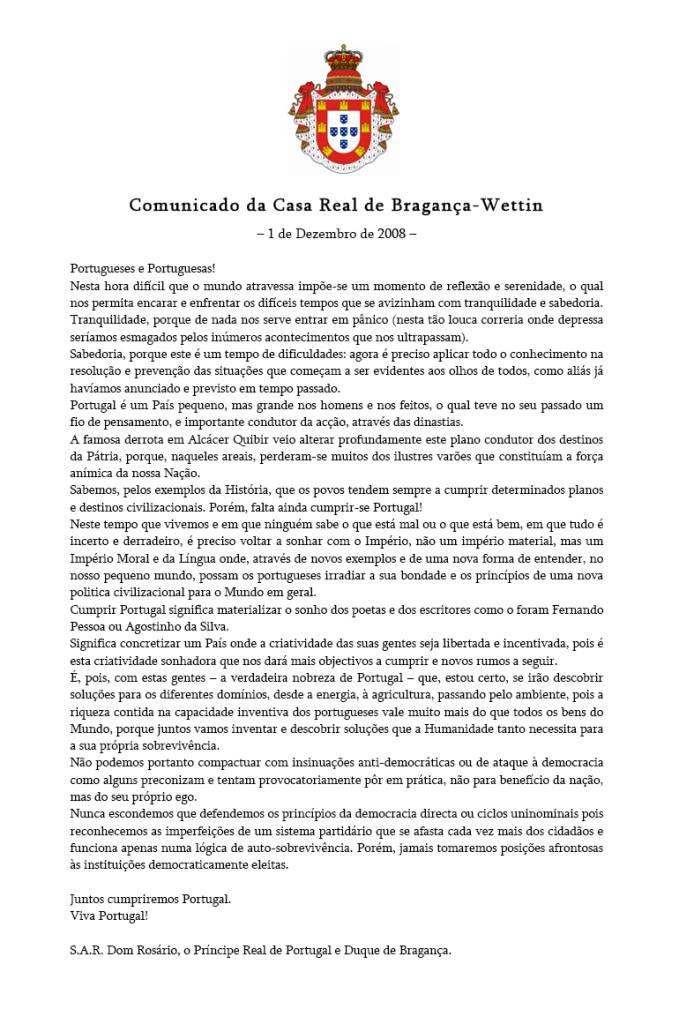 Mensagem 1º Dezembro de SAR. D. Rosário 2008 Comunicado_Casa_Real_1-Dezembro