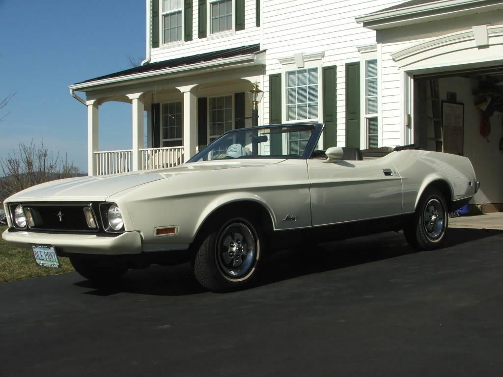 My 1973 Wimbledon White Mustang Convertible After First Repaint DSCF8186