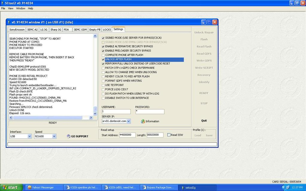 Sony Ericsson K320i openline done sa SETool K320iunlock