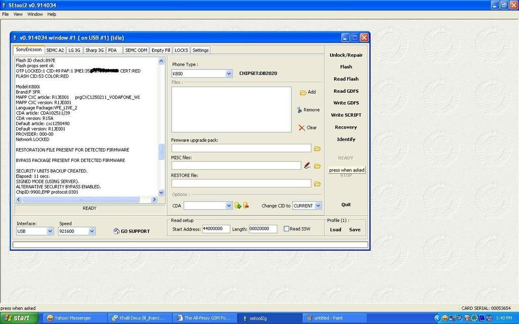 Sony Ericsson K800i CID 53 unlock done sa SETool3 K800i1