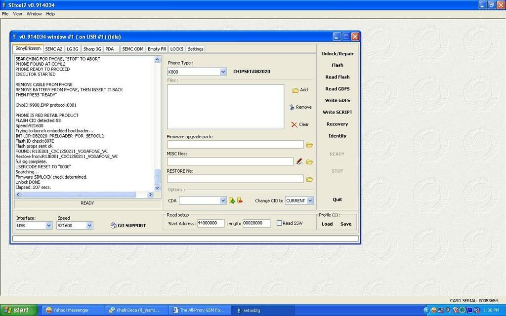 Sony Ericsson K800i CID 53 unlock done sa SETool3 K800i2