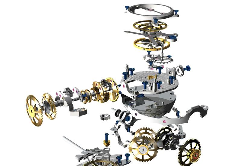 Tourbillon ZERO G : une révolution technologique du XXIème siècle EclatcalibreG0dtailrduit