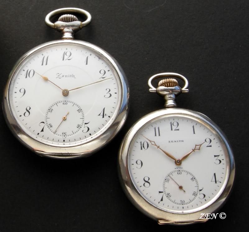 Comparaison d'une montre 18 et 20 ligne ... La taille, la taille MontresdepocheComparaison20ligneset