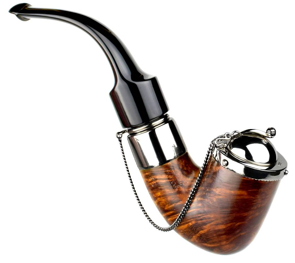My personal pipes with custom hand made sterling silver. Peterson%20Deluxe%20Bent%20With%20Fancy%20Silver%20Wind%20Cap%20High%20Res.%2001_zpsmd8yjeel