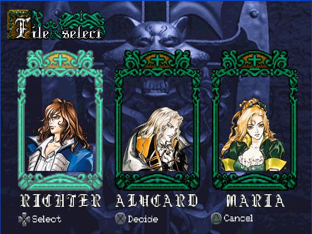 Player select Castlevania SOTN Screen1
