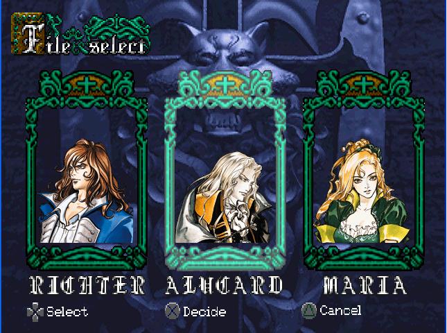 Player select Castlevania SOTN Screen2