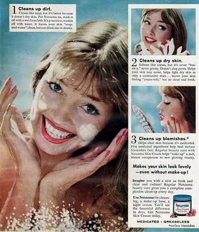 Model History ~ 1961 Beauty Ads ~ Cutex - Revlon Blog_1961_Noxzema_1961_Dolores_Hawkins_Blue