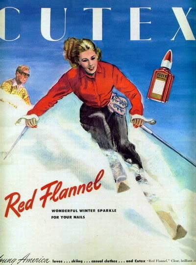 NEW Cutex Ads 1940s Blog_Cutex_1945_Red_Flannel_Skier