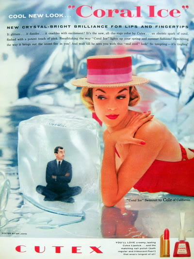 """Coral Ice"" 1957 ~ Jean Patchett & Carol Lynley Blog_Cutex_1957_June_17_JeanP_Cole"