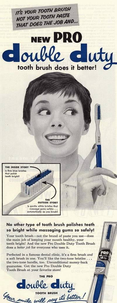 NEW Beauty Ads of Top 50s Models ~ Evelyn Elinor Rita Blog_DoubleDuty_Toothbrush_1958_Rit