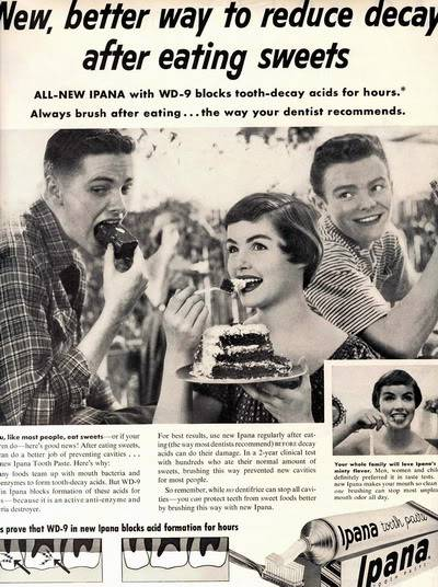 NEW Beauty Ads of Top 50s Models ~ Evelyn Elinor Rita Blog_Ipana_1954_ElinorR_Cake_BP