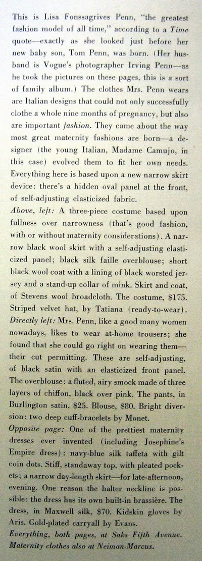 Model History ~ Lisa Fonssagrives Penn in Maternity Fashions 1952 Blog_LisaF_1952_Nov1_Vogue_130_Maternity_BabyTom_IrvingPenn_Text