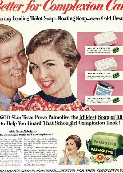 NEW Beauty Ads of Top 50s Models ~ Evelyn Elinor Rita Blog_Palmolive_1954_ElinorR_Schoolg