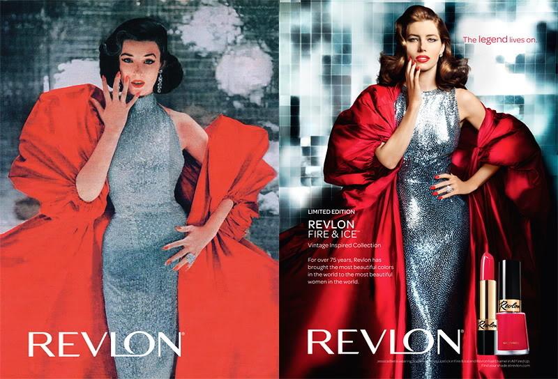 "Revlon's ""Fire & Ice""~ Dorian Leigh Blog_Revlon_1952_DorianLeigh_FireIce_Avedon_2010_JessicaBiel_MarioTestino"