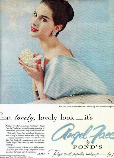 Cosmetics Christmas Ads ~ 1943-1963 Blog_Xmas_AngelFace_1955_NancyBerg_BP