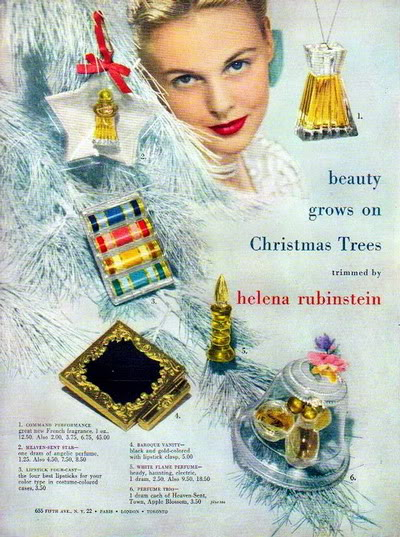 Cosmetics Christmas Ads ~ 1943-1963 Blog_Xmas_HelenaR_1946_Xmas_Trees