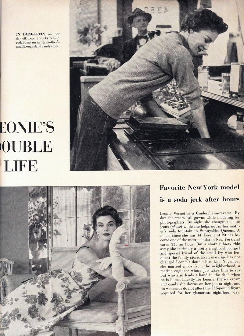 Soda Jerk & Fashion Model ~ Leonie Vernet 1950s LeonieVernet_1954_Aug9_Life_Article