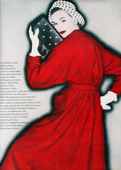 Soda Jerk & Fashion Model ~ Leonie Vernet 1950s LeonieVernet_1955_Vogue_RedDress_Cl