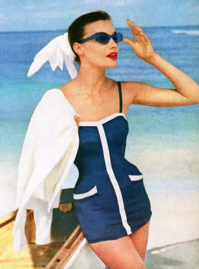 Soda Jerk & Fashion Model ~ Leonie Vernet 1950s LeonieVernet_1955_Vogue_Swimsuit_Ro