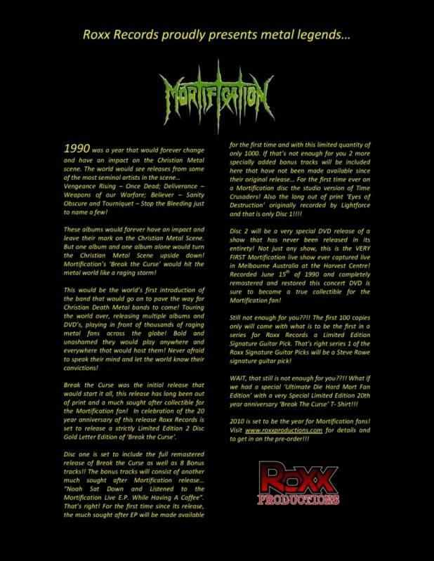 Mortification - Break the Curse 20th Anniversary Gold Edition