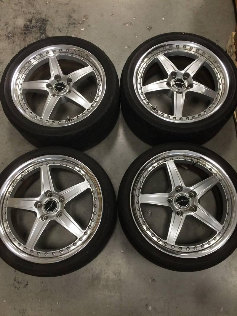 """(rare)JDM Stern wheels (3pc) 18"""" 7.5+48/8.5+48 5x114.3 (no tires) 01E00802-E523-4DF2-9E1D-6CFE8C8F99B4"""