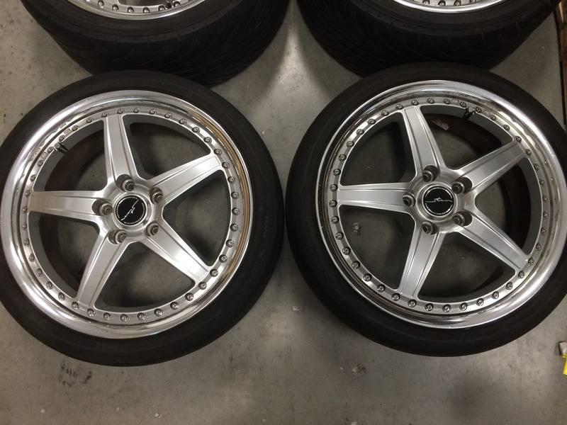 """(rare)JDM Stern wheels (3pc) 18"""" 7.5+48/8.5+48 5x114.3 (no tires) 92E58D75-1FCD-4896-BD2E-130DFEE59D80"""