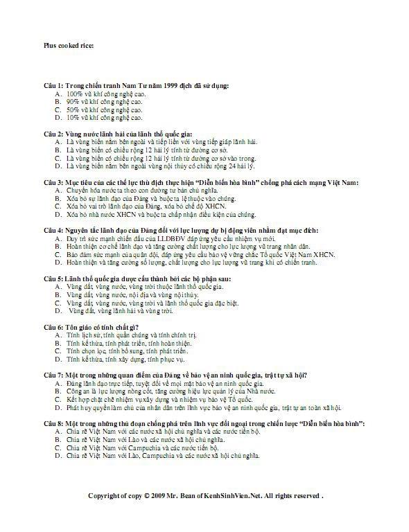 Đáp án đề thi môn Quân Sự  học phần 2 QuanSu23kenhsinhviennet