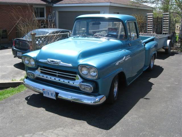 recherche pick up chevrolet 1955-1959 step side! Chevy59bleuBBW