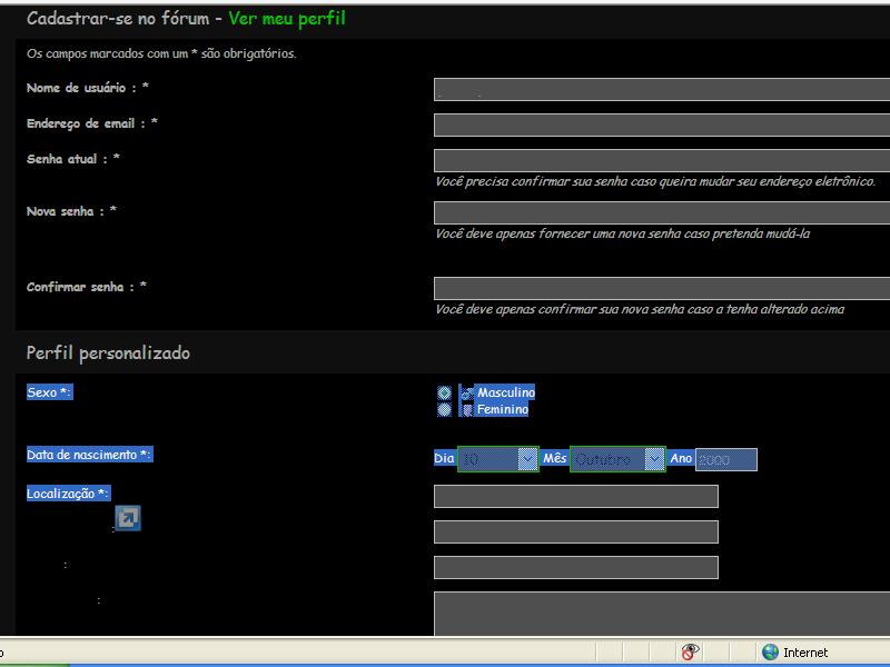 Problema com cores de testo no perfil Semttulo1