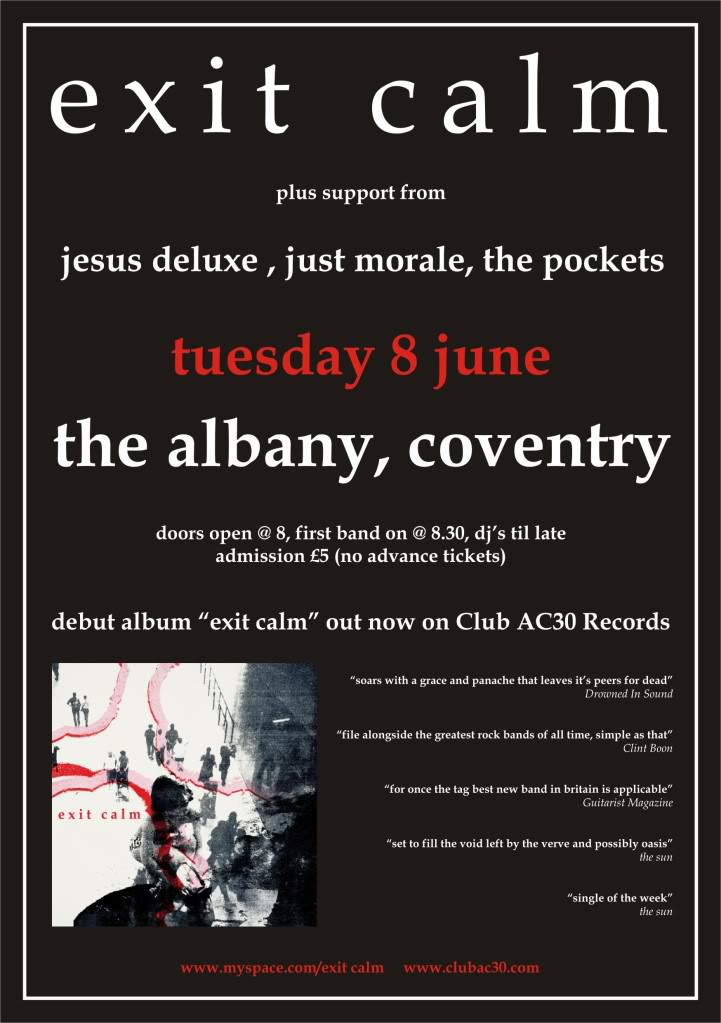 Exit Calm @ The Albany - Tuesday 08 June Poster-1