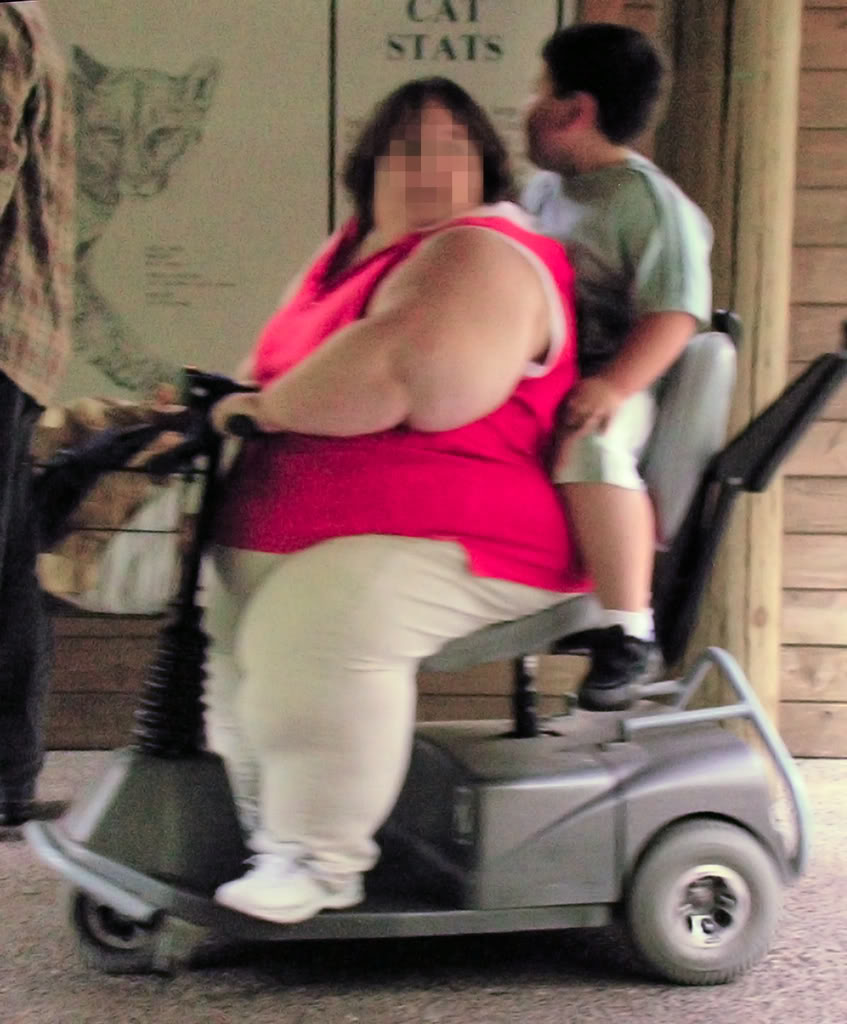 Fat lady with son in training