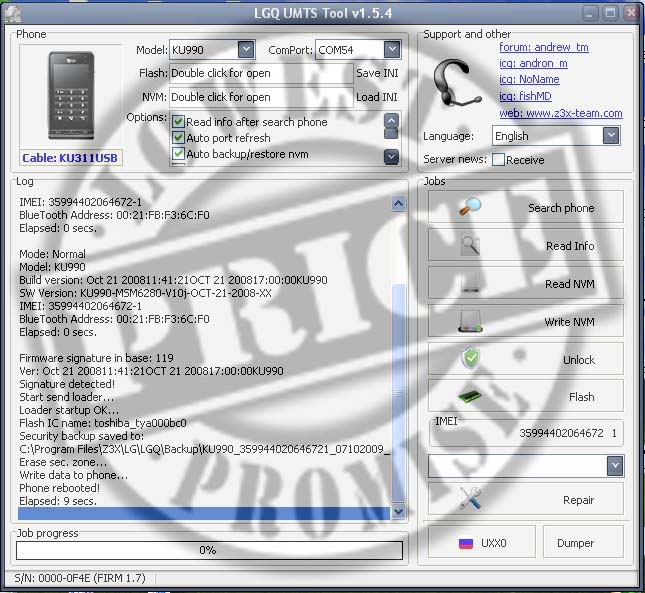 KU990 unlock done by Z3X