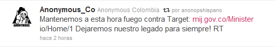 #OpDefensa: Anonymous ataca al gobierno colombiano IMG_Twitter