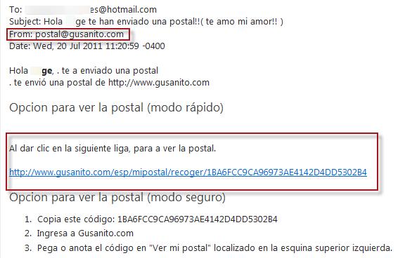 Robando cuenta de Hotmail, a su ex…  Postal-gusanito