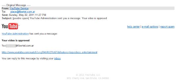 YouTube y el video del spam  SPAM-correo11