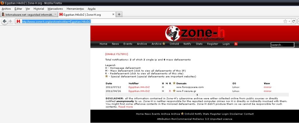 Modificaciones ajenas en el server de Forospyware Defaceinfos