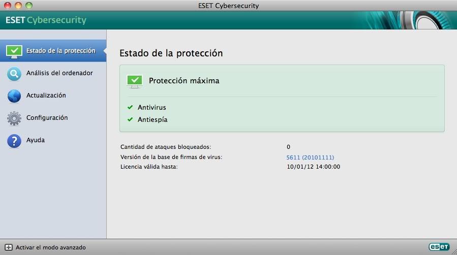 Antivirus para MAC OS X Esetmac