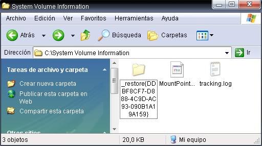 """Ver el contenido de la carpeta """"System Volume Information""""  Restp2"""